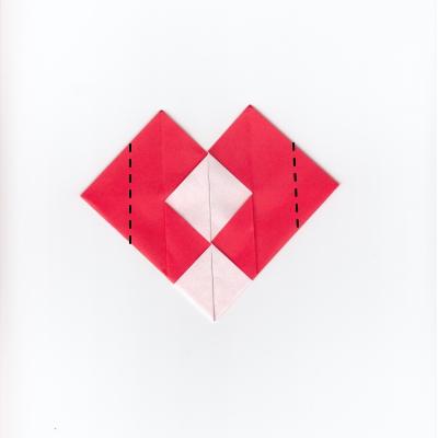 チェックハートの折り紙8