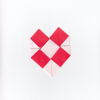 チェックハートの折り紙9