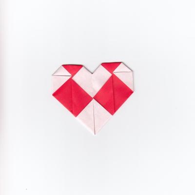 チェックハートの折り紙13