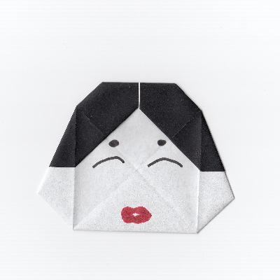 おたふくのお面の折り紙