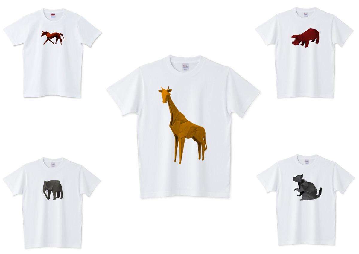 動物の折り紙Tシャツの看板