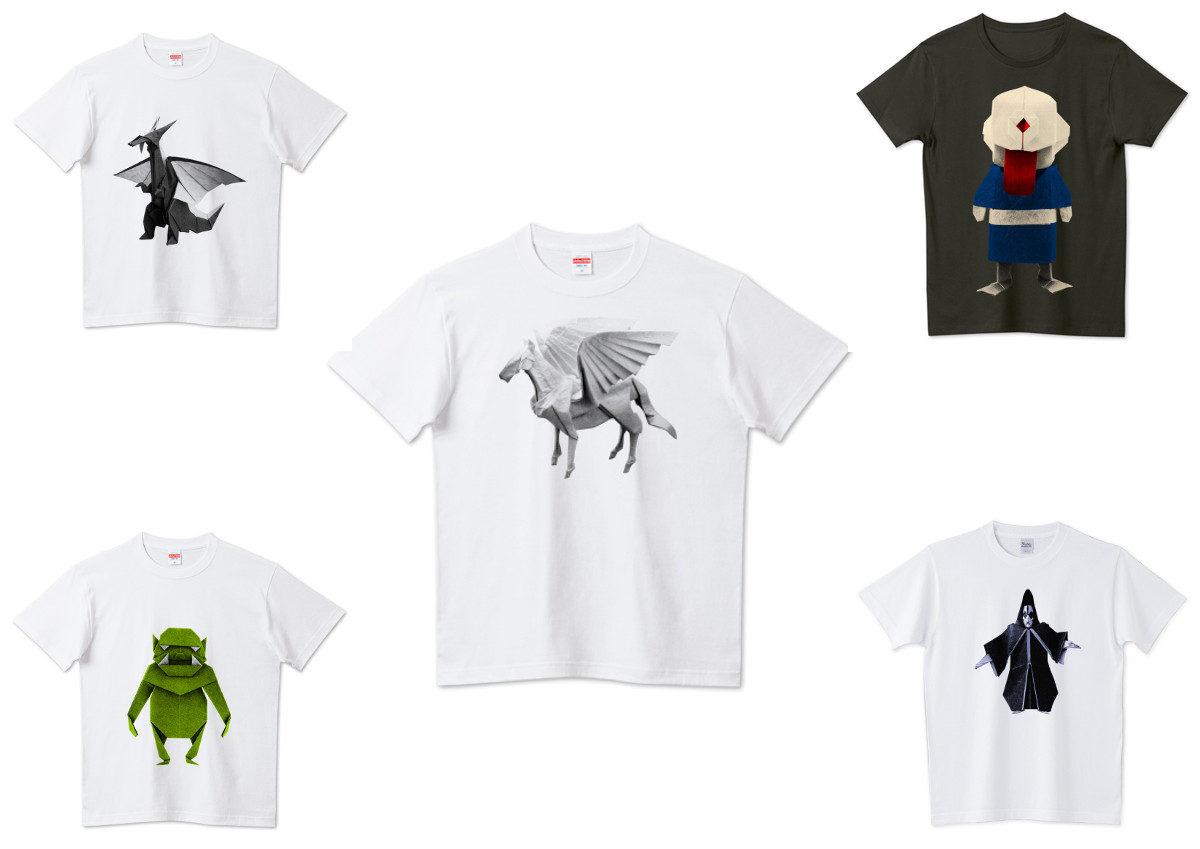 怪物・妖怪の折り紙Tシャツの看板